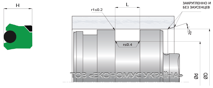 Посадочное место поршневой манжеты (уплотнения поршня) K04_PD