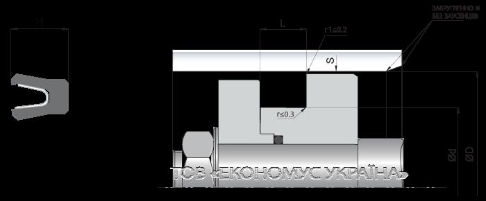 Посадочное место поршневой манжеты (уплотнения поршня) K19_F