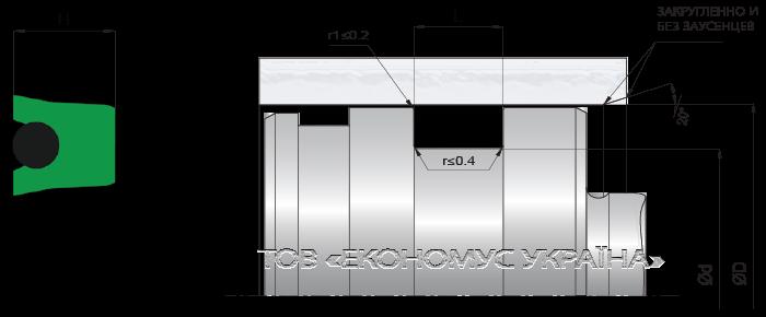 Посадочное место поршневой манжеты (уплотнения поршня) K21_P