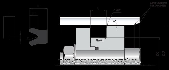 Посадочное место поршневой манжеты (уплотнения поршня) K22_R