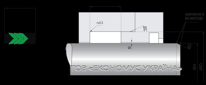 Посадочное место уплотнения штока (штоковой манжеты) S1012_M
