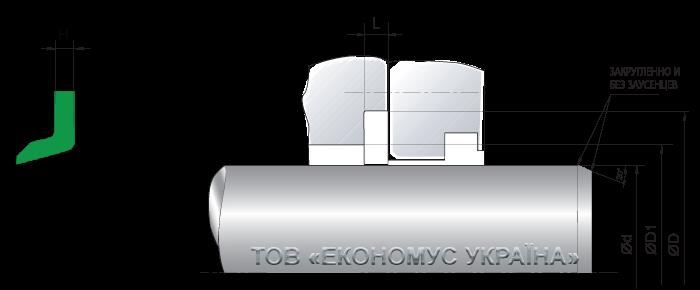 Посадочное место для штоковой манжеты (уплотнение штока) S16-B