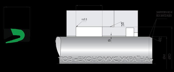 Посадочное место уплотнения штока (штоковой манжеты) S32_P