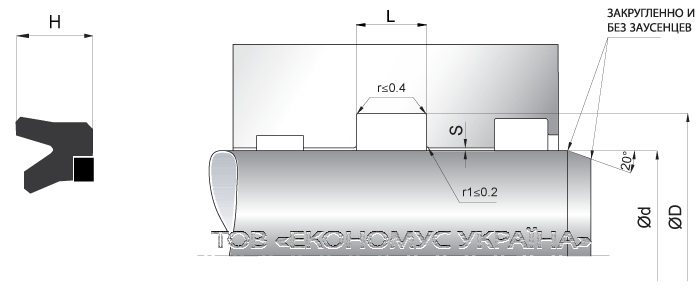 Посадочное место уплотнения штока (штоковой манжеты) S02_R