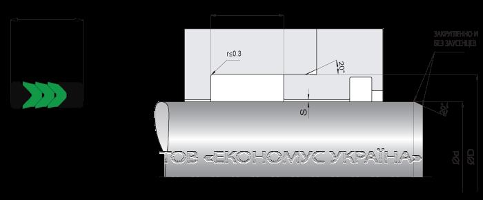 Посадочное место уплотнения штока (штоковой манжеты) S1012_T