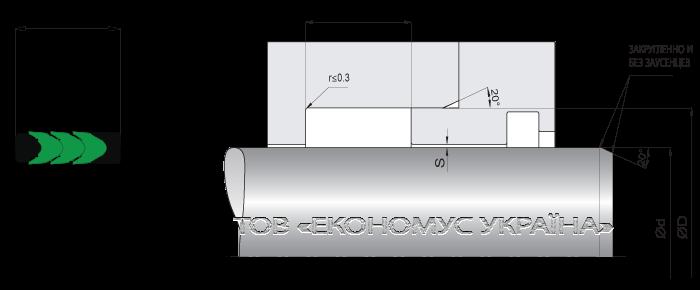 Посадочное место уплотнения штока (штоковой манжеты) S1315_T