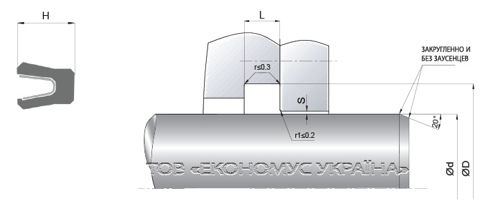 Посадочное место уплотнения штока (штоковой манжеты) S19_F