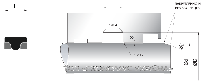Посадочное место уплотнения штока (штоковой манжеты) S20_R
