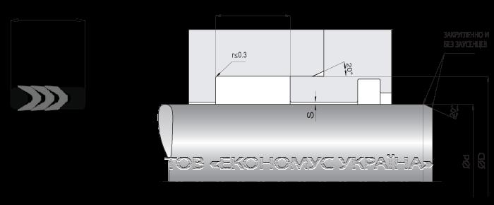 Посадочное место уплотнения штока (штоковой манжеты) S2527_F