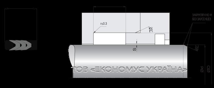 Посадочное место уплотнения штока (штоковой манжеты) S2931_F